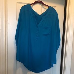 Plus size blue chiffon blouse